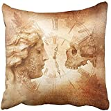 Throw Pillow Cover Square 18x18 Inches Memento Mori Montage with Female Profile Facing Skull Across Antique Clock Against of Weathered Polyester Decor Hidden Zipper Print On Pillowcases