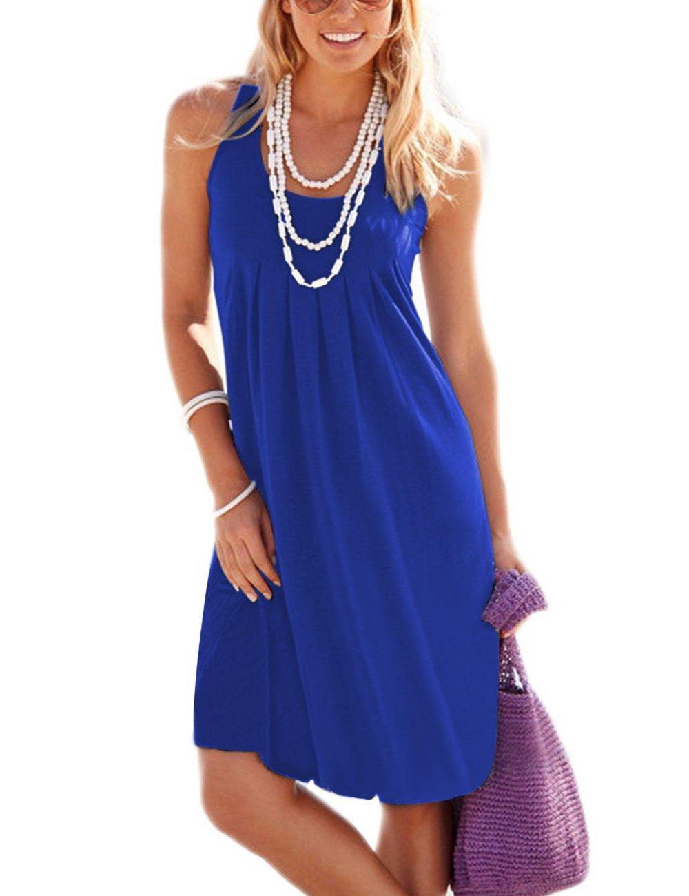 Traleubie Women's Casual Summer Tank Sleeveless Knee Length Vest Pleated Sun Dresses Royal Blue M