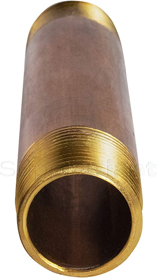 Everflow Supplies NPBR2570 7 Long Brass Nipple Pipe Fitting with 2-1//2 Nominal Diameter and NPT Ends