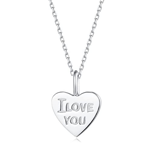 4cd029a67c367 Carleen 18K White Gold Plated 925 Sterling Silver I Love You Heart Dainty Pendant  Necklace for
