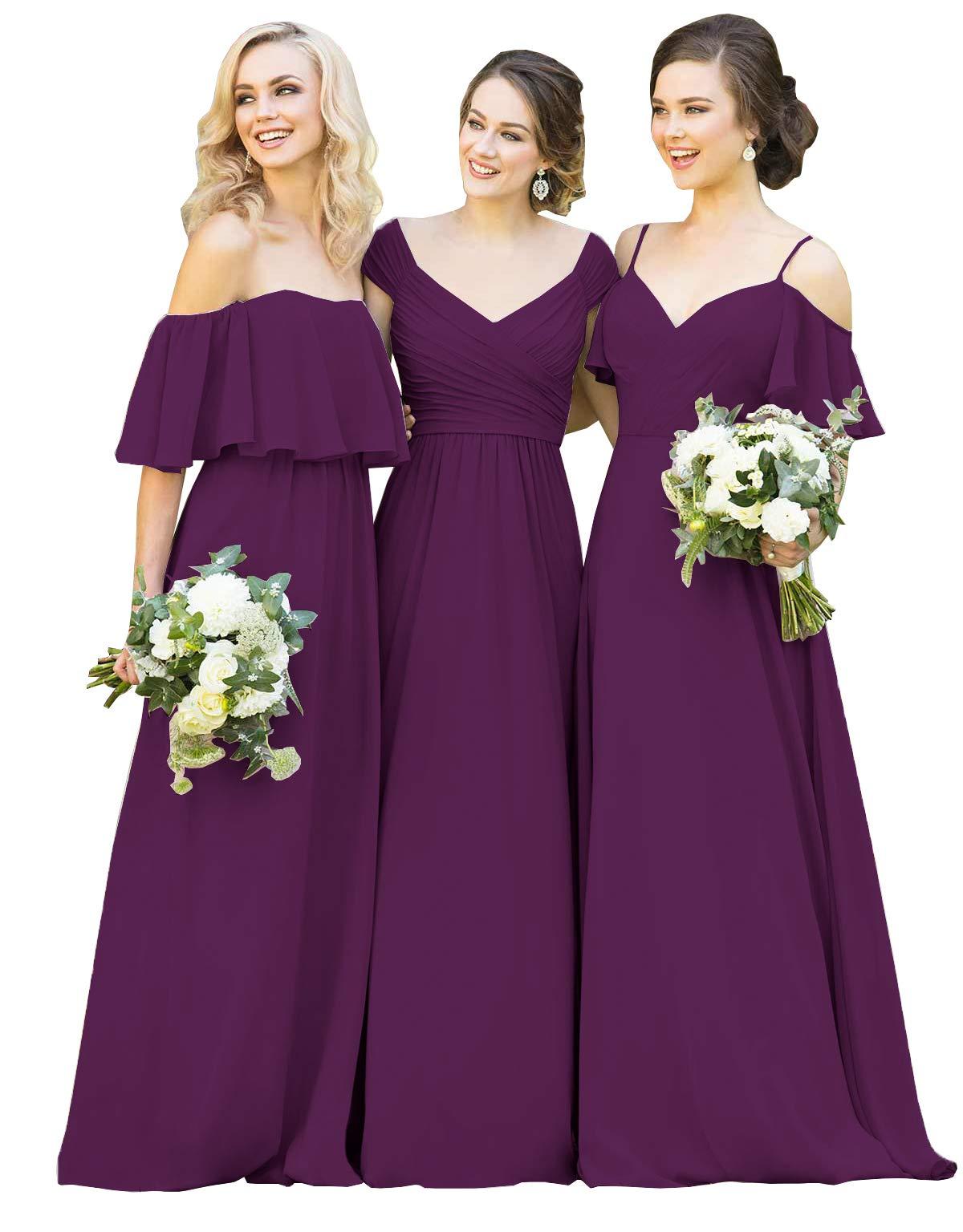 Womens V Neck Spaghetti Chiffon Bridesmaid Dress Long with Shoulder Ruffles Evening Wedding Gown