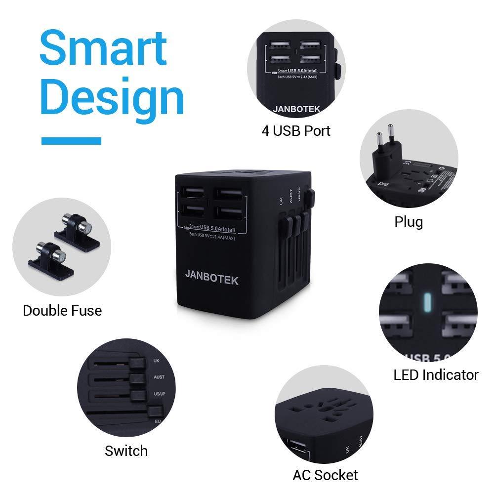 JANBOTEK Internacional Universal Adaptador, 4 USB 5A 2000W Maximo Enchufe para US EU UK AU Acerca de 150 Países, PC, Smartphones Cámaras Digitales, ...
