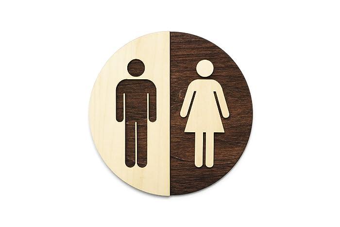 amazon com round unisex office bathroom sign restroom wc signage