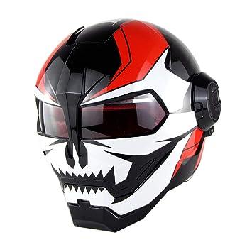 GWJNB Casco De Moto De Cara Completa Iron Man Casco De Cara Completa Super Personalidad Estilo