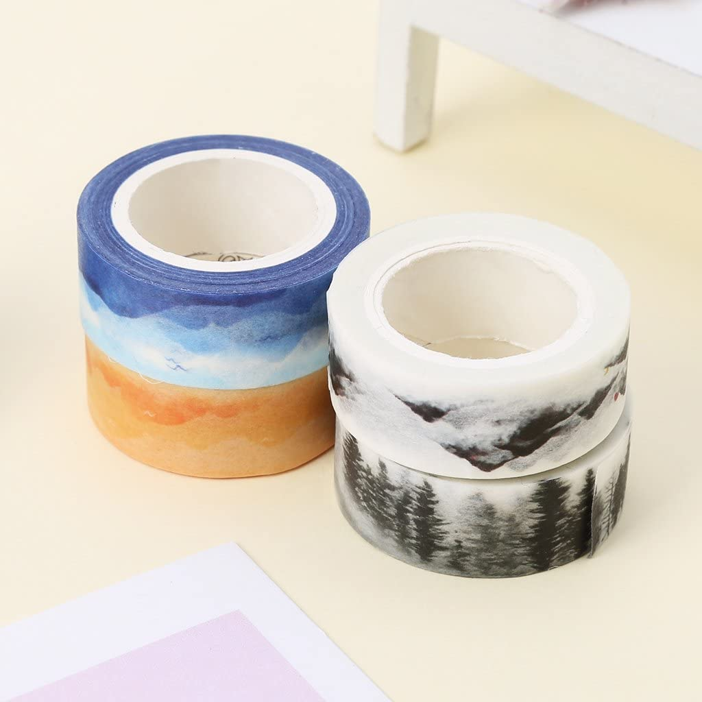 A0127 Washi Tape Masking Tape Nastro Adesivo Decorativo 1 pz Pittura Paesaggio Adesivo Decorativo Fai da Te Colore Casuale