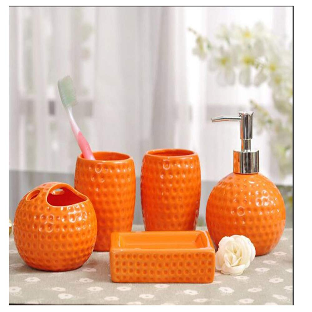 ACSeven 5 Piece Bathroom Accessories Set Ceramic Toothbrush Cups, Toothbrush Holder, Lotion Dispenser and Soap Box (Orange) AUK20