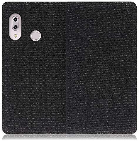 LOOF Denim ZenFone 5 / 5Z / ZE620KL / ZS620KL ケース 手帳型 カバー スマホケース デニム生地 横入れ カード収納付 スタンド機能付 パス入れ 手帳型ケース 手帳型カバー ベルトなし おしゃれ シンプル ブランド (ブラック)