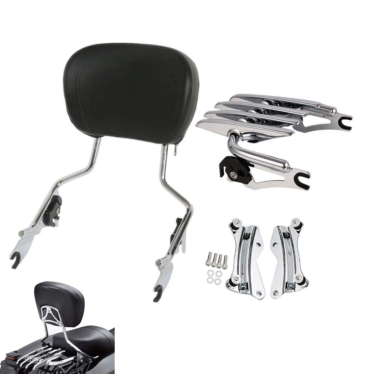 TCMT Detachable Passenger Backrest Sissy Bar With 4 Point Docking Hardware Kits For Harley Street Glide 2014-2019 (Chrome, Style A) US-XF290670-224-E