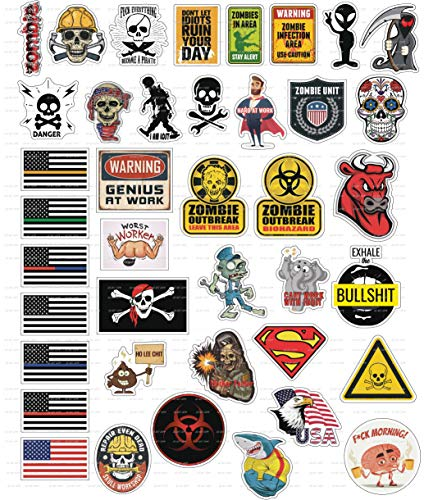 40 Funny Hard Hat Sticker,Tool Box, Hardhat, Laptop Stickers- 100% Plastic(Vinyl), Funny Decals For Construction, Electrician, Plumber Oilfield, Fire Crew, Mechanic- Skateboard, (Hard Hat Stickers Construction)