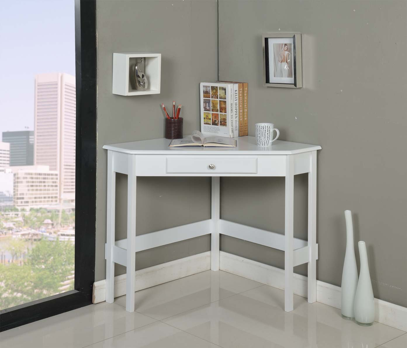 Kings Brand Furniture Wood Corner Desk with Drawer (White) by Kings Brand Furniture