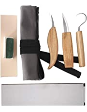 CESTLAVIE 5pcs Wood Carving Tools Set, Carving Hook Knife, Whittling Knife, Detail Knife, Leather Strop and Polishing Compound with Canvas Bag for Carving Spoons, Bowls, Cups, or Any Specific Relief (Wood Carving Tools)