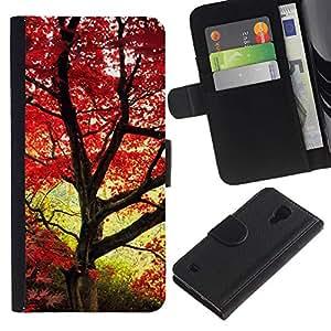Billetera de Cuero Caso del tirón Titular de la tarjeta Carcasa Funda del zurriago para Samsung Galaxy S4 IV I9500 / Business Style Red maple leaves