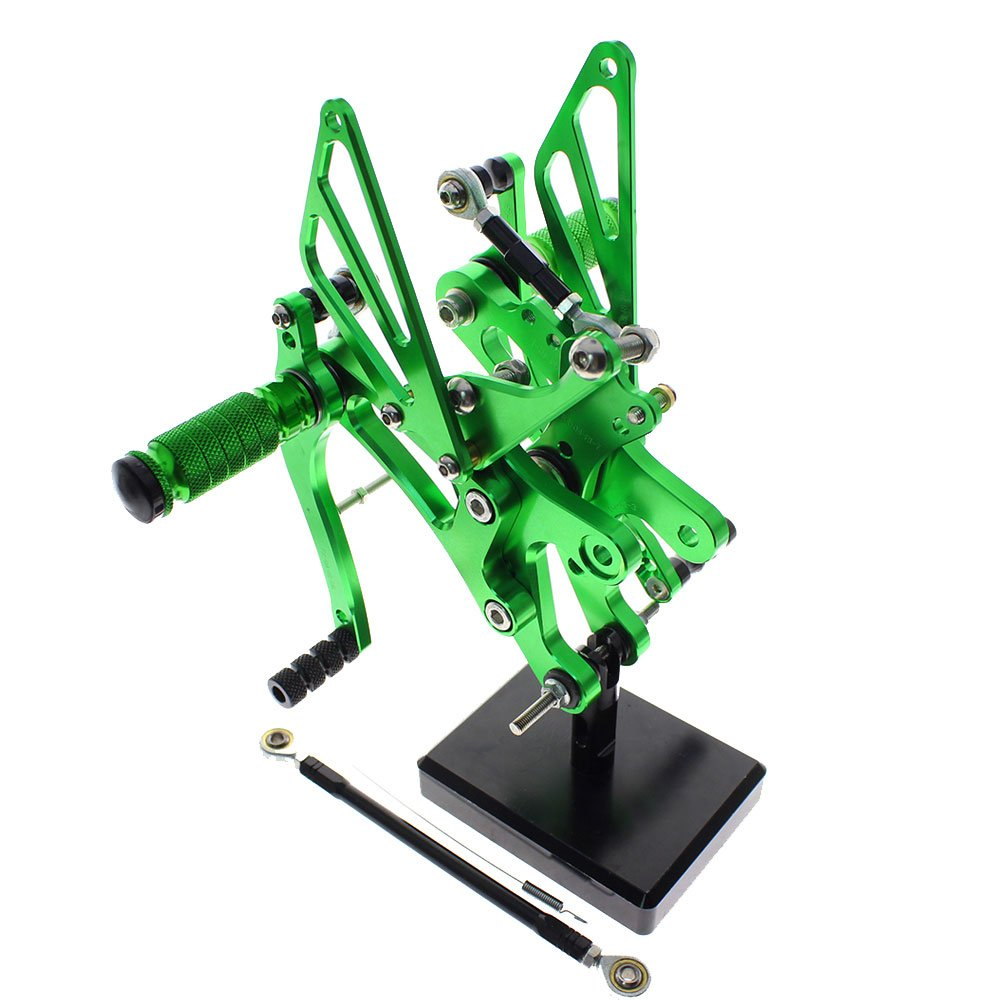 Motorcycle Rearsets Rear Foot Pegs CNC Rear set Footrests Fully Adjustable Rear Foot Boards Fit for YAMAHA YZF R1 1998 1999 2000 2001 2002 2003 Green