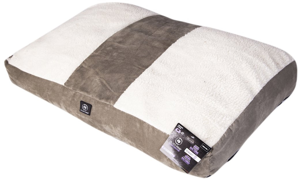 Sage Green Beige Combo Small Sage Green Beige Combo Small Silverpaw Anti-Odour Plus Anti-Bacterial Luxury Casual Puffy Dog Bed, Sage Beige Combo, Size, Small