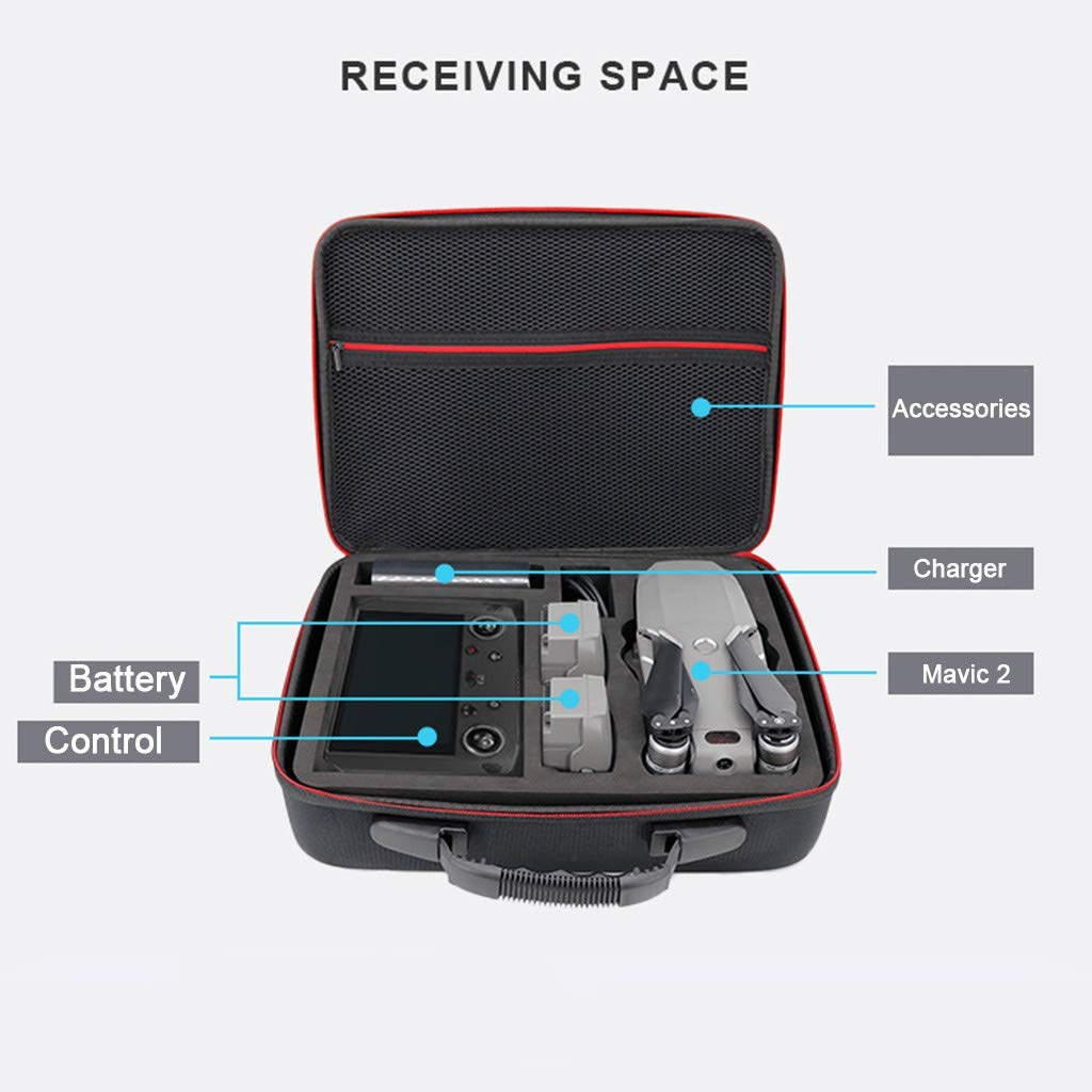 Bonpow Portable Handheld Storage Bag Waterproof Hardshell Shoulder Bag for DJI Smart Controller Mavic 2 Drone