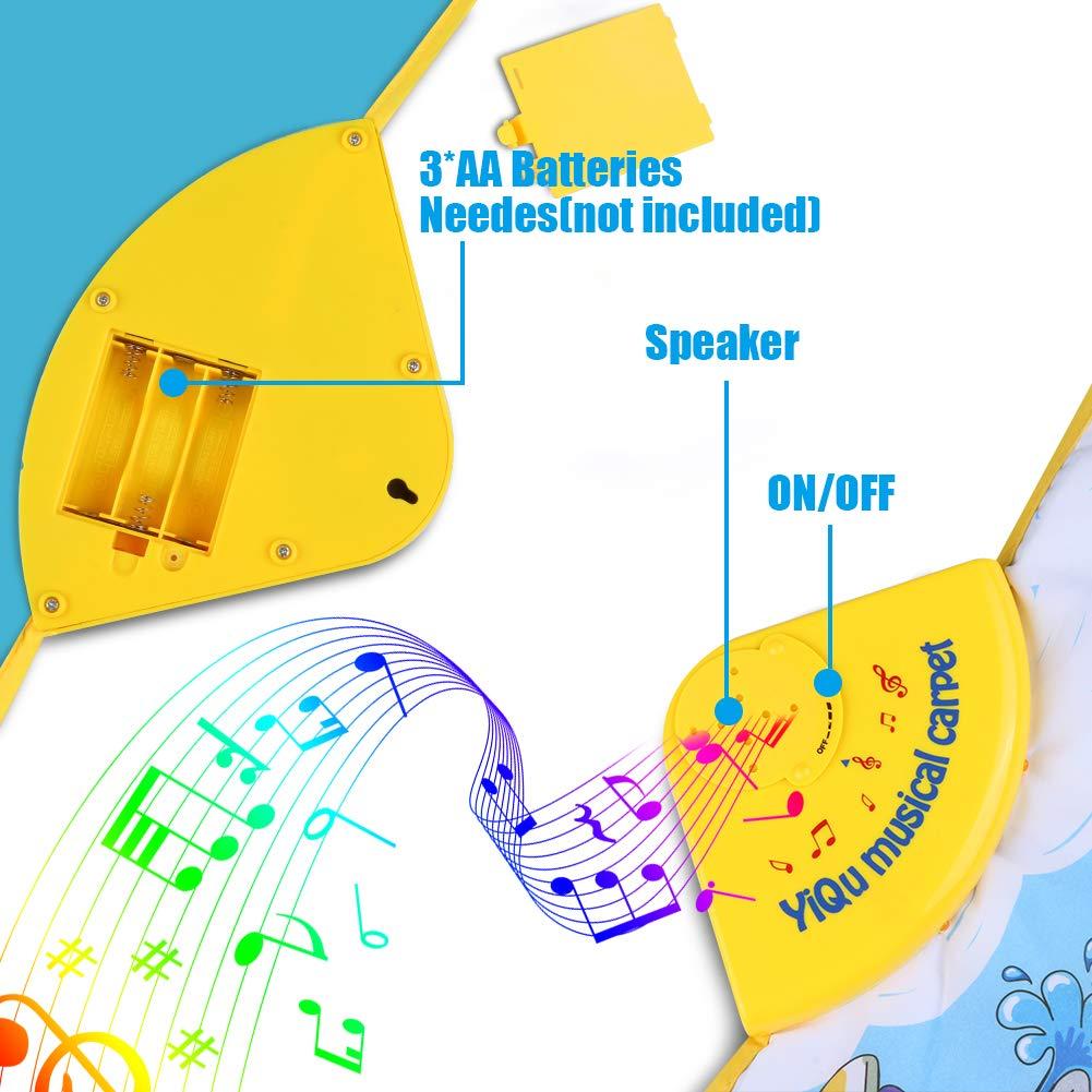 RenFox Tapis Musical Baby Musical Piano Tapis de Jeu Tapis Portable /¨/¦lectronique Couverture Musicale /¨/¦ducative avec des Sons de 10 v/¨/¦hicules Cadeaux pour Enfants Toddler Girls Boys Christmas