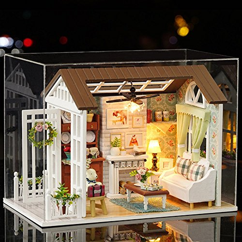 Flever Dollhouse Miniature DIY House Kit Creative Room With Furniture for Romantic Gift (Happy Time(Plus Dust - For Mini Sunglasses Doll