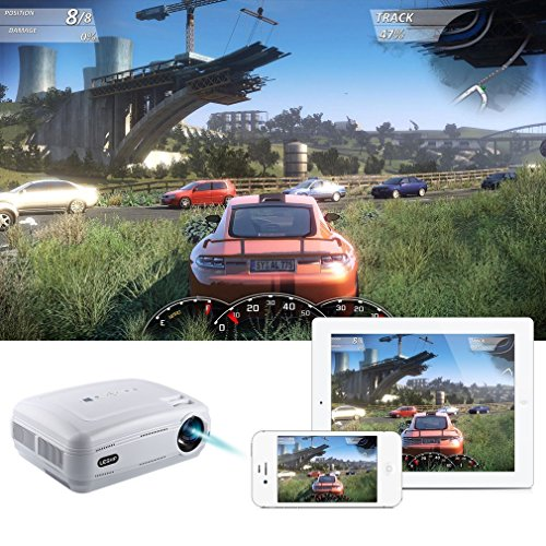 Proyector LED, ICOCO LESHP Proyector Full HD 1080P 3200 Lúmenes Proyector Video Portátil Proyector LCD Home Cinema Soporte TV HD...