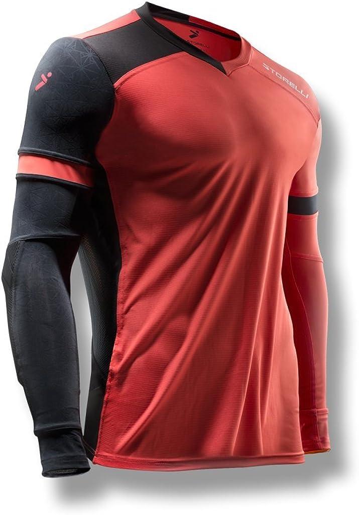 Storelli Jersey de Portero Gladiator ExoShield Mangas con Codo Acolchado | Jersey de fútbol Ligero | Coral | Jóven M: Amazon.es: Ropa y accesorios