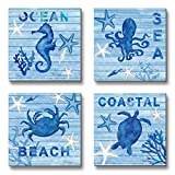 blue crab decor - 3Hdeko-Blue Sea Wall Art Painting Turtle Hippocampus Octopus Crab Prints On Canvas Ocean Animal Pictures For Home Modern Decor Gift,12x12Inch x4pcs