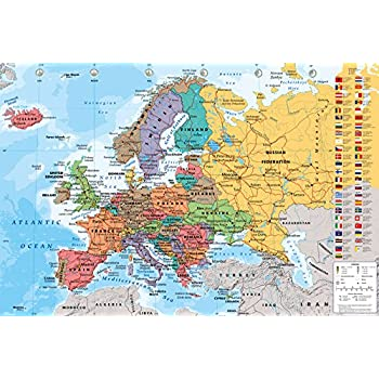 european map educational poster 36 x 24in