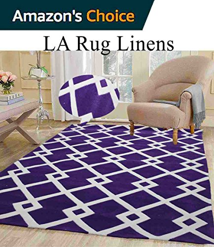 Colorful Deep Purple Dark Purple White Modern Contemporary Abstract Designer Hand Tufted 8x10 Bedroom Living Room Indoor Outdoor Rug Throw .5 Inch Thin Pile Height ( Vintage V007 Purple ) (Capel Rugs Chenille Rug)