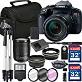 Canon EOS Rebel T7i Digital SLR Camera + 18-135mm USM + SD Card Reader + 64GB Memory + Remote + Spare Battery + Accessory Bundle - International Version