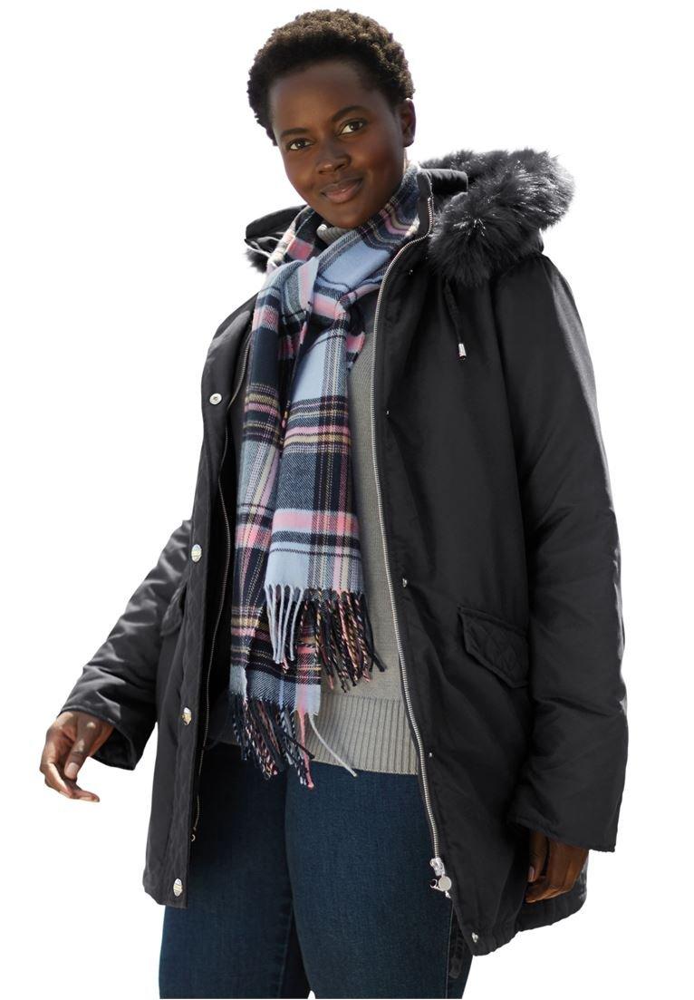 Women's Plus Size Coat, Microfiber Down/Feather Blend Parka Black,4X
