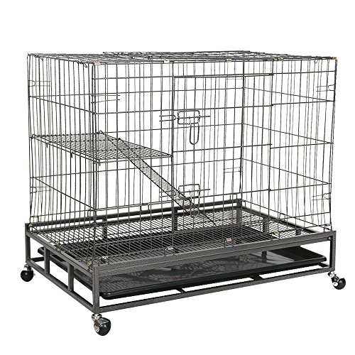 Livebest Folding Pet Cage Indoor Cat Rabbit Small Animal Cage Hutch With Climbing Ladders