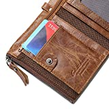 VRLEGEND Mens ID Wallet Bilfold Wallet Vintage Style Genuine Leather Billfold Large Capacity with Zippers (L, Brown)