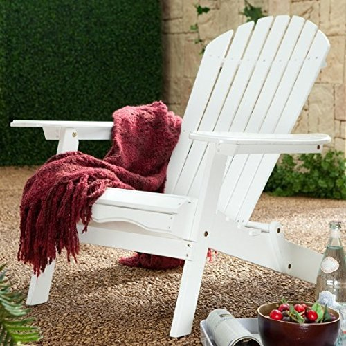 Premium Quality Adirondack Chair FOLDABLE Wooden Furniture for All Weather Conversations on Deck Patio Outdoor Garden Poolside Beach, White Color (Breezesta Adirondack)