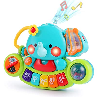 iPlay, iLearn Baby Musical Elephant Toys, Kids Electronic Piano Keyboard W/ Lights & Sound, Music Activity Center, Learning Gifts for 6 9 12 18 24 Months, 1 2 3 Year Olds, Toddlers Infants Boys Girls: Toys & Games