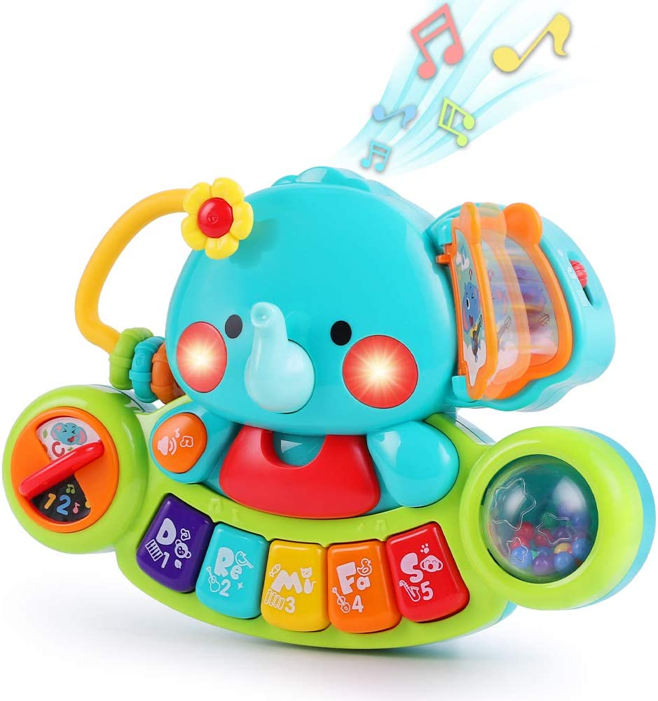 iPlay, iLearn Baby Musical Elephant Toys, Kids Electronic Piano Keyboard W/ Lights & Sound, Music Activity Center, Learning Gifts for 6 9 12 18 24 Months, 1 2 3 Year Olds, Toddlers Infants Boys Girls