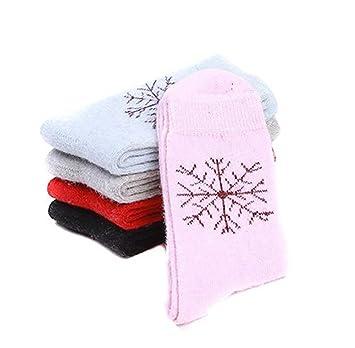 5 pares surtidos color Copo de nieve patrón verdickte lana calcetines para mujeres damas Girl Mantener - Calentador para pies en invierno, ...