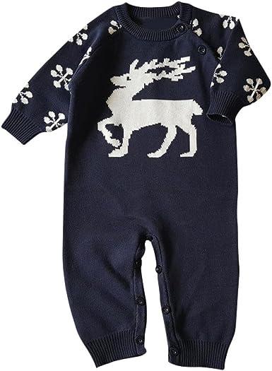 Unisex Newborn Baby Chrismas Deer Overall Long Sleeve Christmas Sweaters Coat