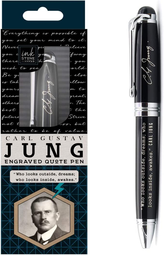 Carl Jung Engraved Inspirational Quote Pen - Who looks outside, dreams; Who looks inside, awakes. - Psychology Gifts for Psychologists Therapists Counselors Intellectuals