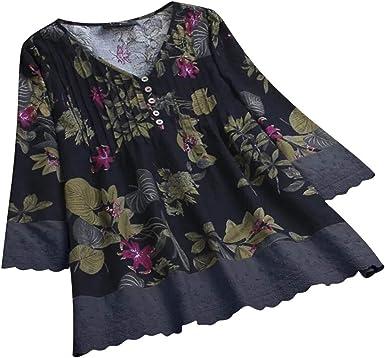 Dresswel Mujeres étnicas Camisas de impresión Floral Split Cuello en V Profundo 3/4 Manga Volante Cuff Fruncido Frente Tops Blusa Camisa: Amazon.es: Ropa y accesorios