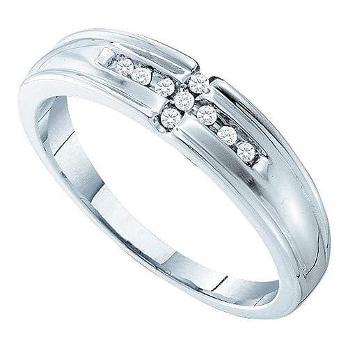 14 K oro blanco diamante boda para hombre y mujer pareja His & Hers a Juego