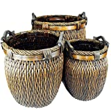 TOPOT Log Baskets Set of 3 Piece Wicker Stitch Weave With Wood Ear handles