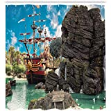 Ambesonne Pirate Shower Curtain, Big Ancient Ship on Tropical Caribbean Seashore Pirate Island Large Rock Formation, Fabric Bathroom Decor Set with Hooks, 84 Inches Extra Long, Multicolor