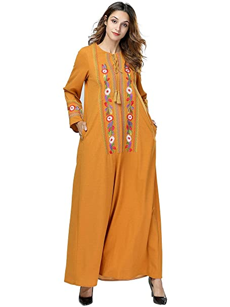 MEYINI Vestido de Mujer Kaftan Dubai Islámico Abaya Musulmanes Elegantes Batas turcas Bata los Vestidos Maxi: Amazon.es: Ropa y accesorios