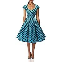 bbonlinedress Dam 50-tal 60-tal rockabilly klänning keps ärm vintage swing party klänning
