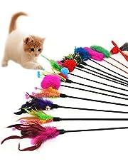 Hosaire 4x Cat Toys Katzenspielzeug Katze Spielzeug Federstab mit Glocke und Feder Katzenspielzeug für Cat Haustier