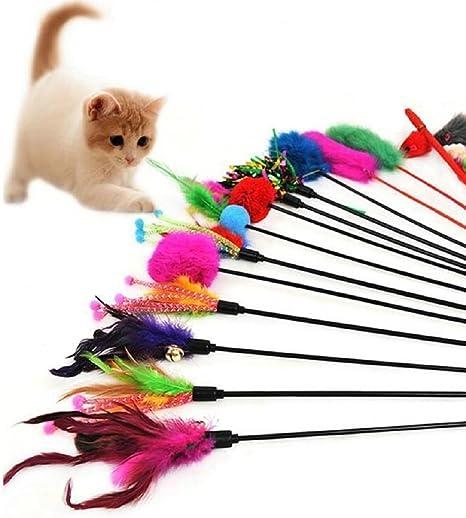 Hosaire – Juego de 4 plumeros de juguete para gato, con campanilla ...