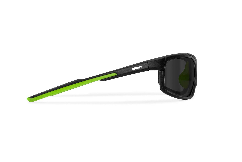BERTONI Polarisierte Windschutz Sportbrillen Sonnenbrille 2 Wechselgläser für Radfahren - Skifahren - Laufen - Driving - Fish - P180 Sportbrille