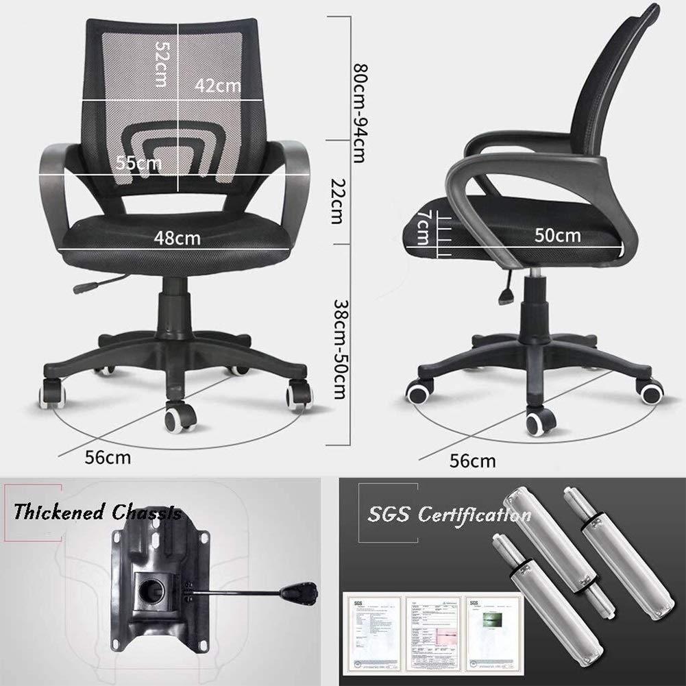 Kontorsstol skrivbordsstol möbler ergonomisk kontorsnät med armar sittplatser ryggstöd, mitten av ryggen 360 grader; svängbar uppgift justerbar höjd nylonbas (färg: blå) Orange