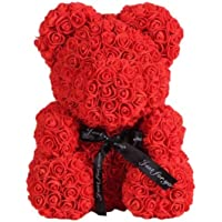 Webby Artificial Red Rose Bear Valentine's Day Gift Toy, Size 23CM