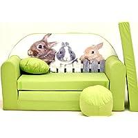 Pro Cosmo Z25Enfants Canapé-lit avec Pouf/Repose-Pieds/Oreiller, Tissu, Vert, 168x 98x 60cm