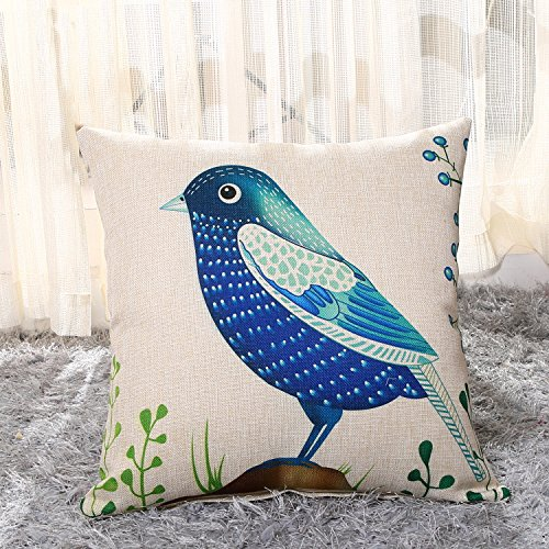MAYUAN520 Cushion、Decorative Pillows Home Decorative Pillows Cover Bird Print Sofa Cushion Cover Square Pillowcase 45X45Cm Seat Back Cushion Vintage Pillow Covers,450Mm450Mm,Blue by MAYUAN520