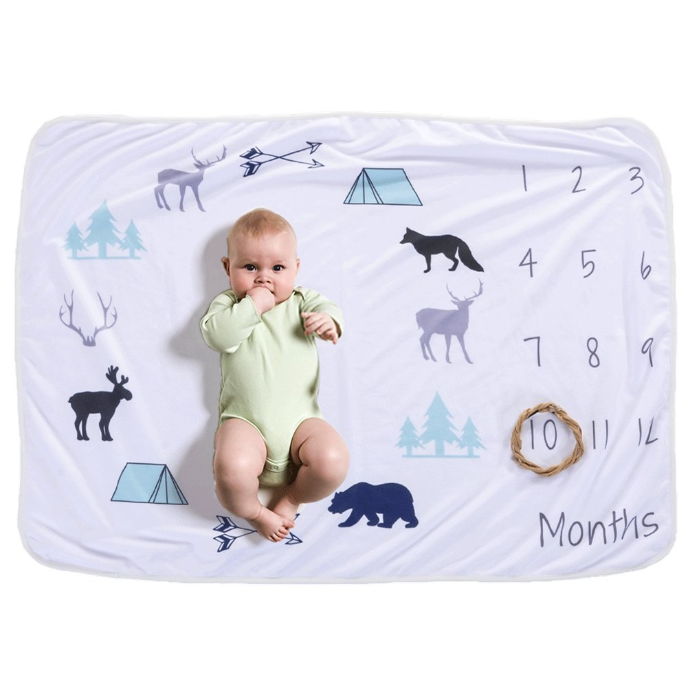 Geekercity Baby Monthly Milestone Blanket, Photo Prop Set, Photography Accessories Background Backdrop, Swaddling Wrap Baby Shower Gifts for Newborn Infant Toddlers Baby Boys Girls (Animal)